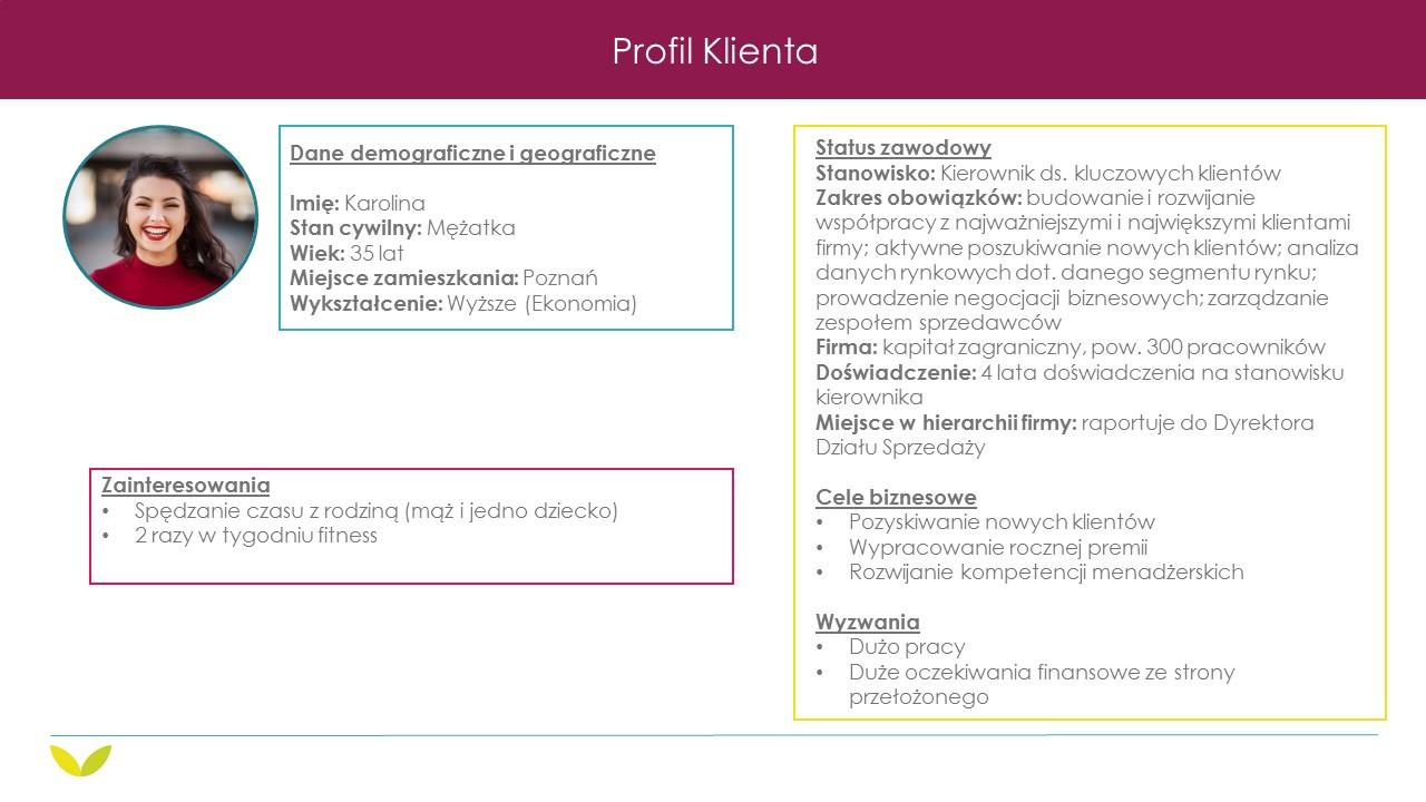 Grafika prezentuje Profil Klienta, który określa jego dane demograficzne i geograficzne, status zawodowy, cele biznesowe jakie chce osiągnąć, wyzwania z jakimi się mierzy oraz zainteresowania.
